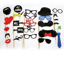 Wholesale 50sets/lot,31pcs/set DIY Photo Booth Props Hat Mustache On A Stick Wedding Birthday party fun favor