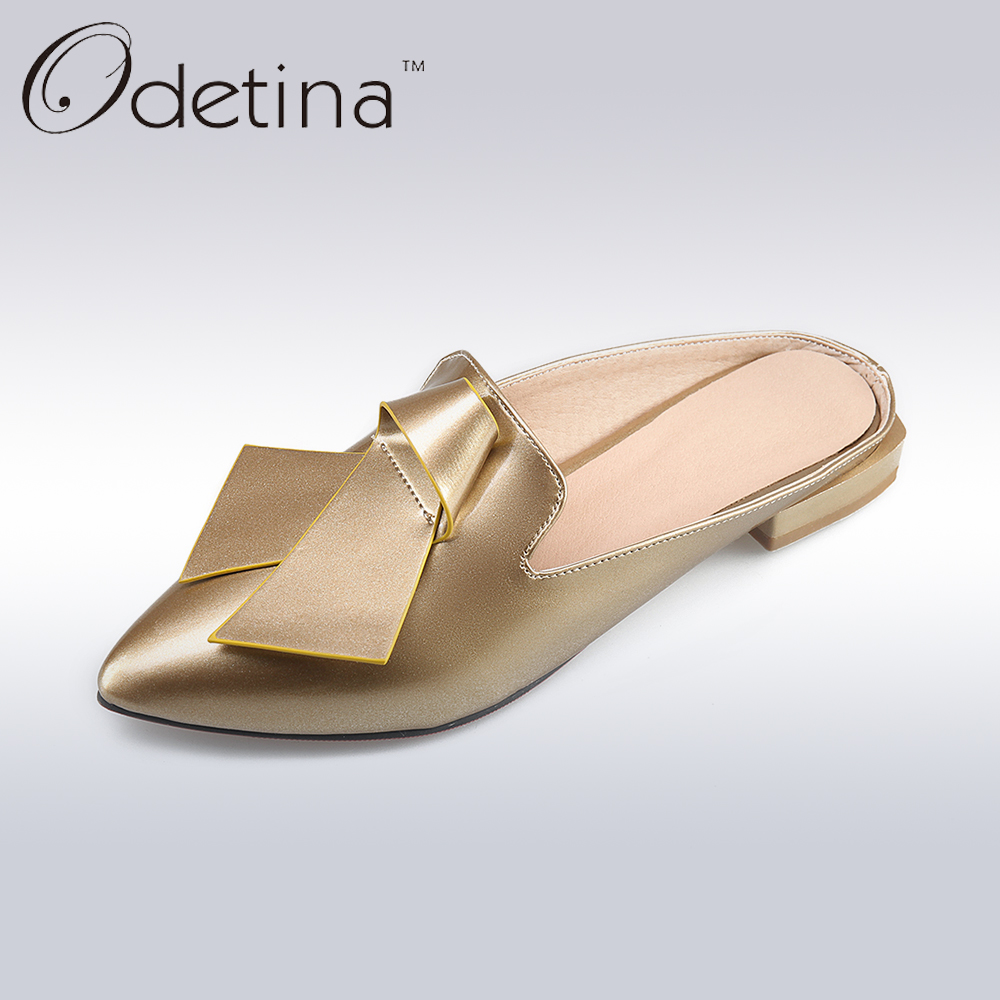 Odetina 2017 Summer Women Bowknot Slingback Flat Shoes Pointed Toe Slip on Casual Flats Loafers Mules D'ete Pour Femme A Talon odetina 2017 new woman slingback flats hollow out slip on flat shoes flower half slippers mules d ete pour femme plus size 32 43