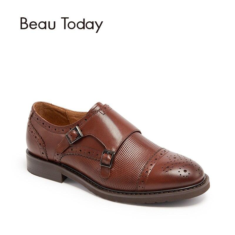 BeauToday Moine Sangles Chaussures Femmes À La Main Top Qualité Véritable Veau En Cuir Bout Rond de Style Richelieu Appartements 21048