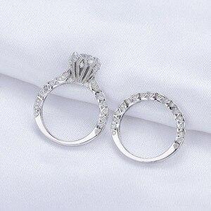 Image 4 - خاتم زفاف عتيق من Newshe 2.6Ct أبيض دائري الشكل AAA CZ مجموعة خواتم خطوبة أصلية من الفضة الإسترليني عيار 925 للسيدات JR4891