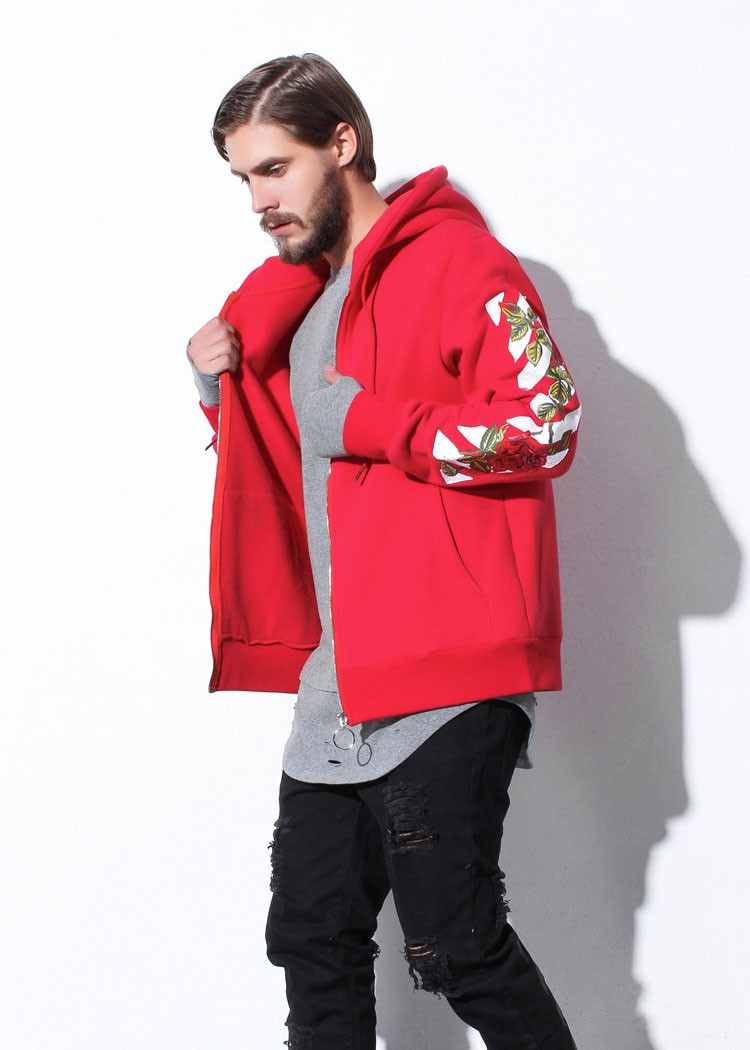 Aolamegs Men Hoodies Fashion Vintage Floral Embroidery Cardigan Jacket Hooded Zipper Outwear Off White Couples Red Black Hoodie (27)
