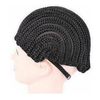 ( 2 Pieces/lot ) FREE Shipping Adjustable Strap Elastic Mesh Glueless Cornrow Crochet Synthetic Braided Weaving Wig Cap Black 2