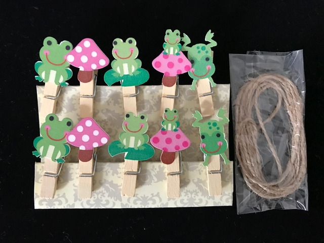 30pcs Green Frog Clothespins,Baby Shower Decorative Wood Clips,Pins,Nature  Photo Display
