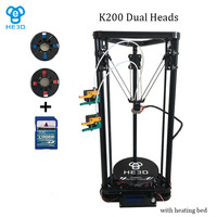 He3D high quality Dual Extruder with heat bed reprap K200 3d printer delta 3d printer DIY kit support muti material