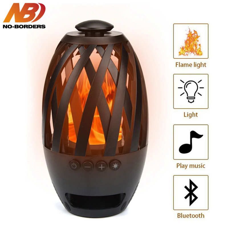 NO-BORDERS Stereo Portable TF Card Loudspeaker BTS 596 Flane Atmosphere Wireless Bluetooth Speaker Flame LED Lamps USB Charge
