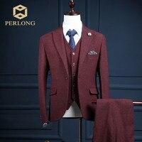 New Fashion Brand Men's Suits Wine Red Blazer Tuxedo Slim Fit Wedding Male Party Tuxedo Prom Groom Dress Jacket+Pants+Vest Suit