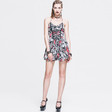 New Devil Fashion Autumn Punk personality sexy backless woman dress with shoulder-straps fashion female cotton dresses