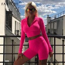 Fantoye Due Pezzi Set Fluorescente Verde Top Shorts Vestito Sexy Dolcevita A Maniche Lunghe Aderente Vestito di Sport Casual Femme Tuta