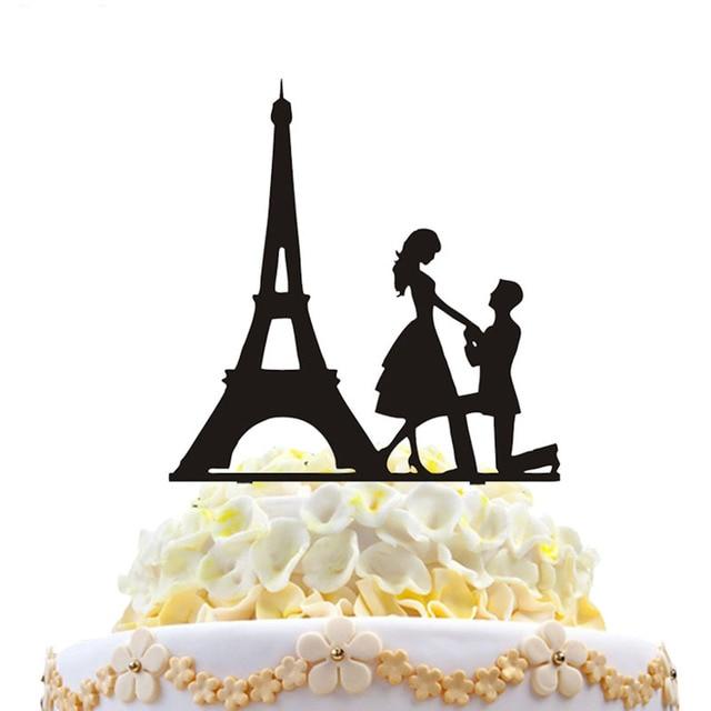 HAOCHU Hot Sale Wedding Birthday Cake Topper Eiffel Tower Propose