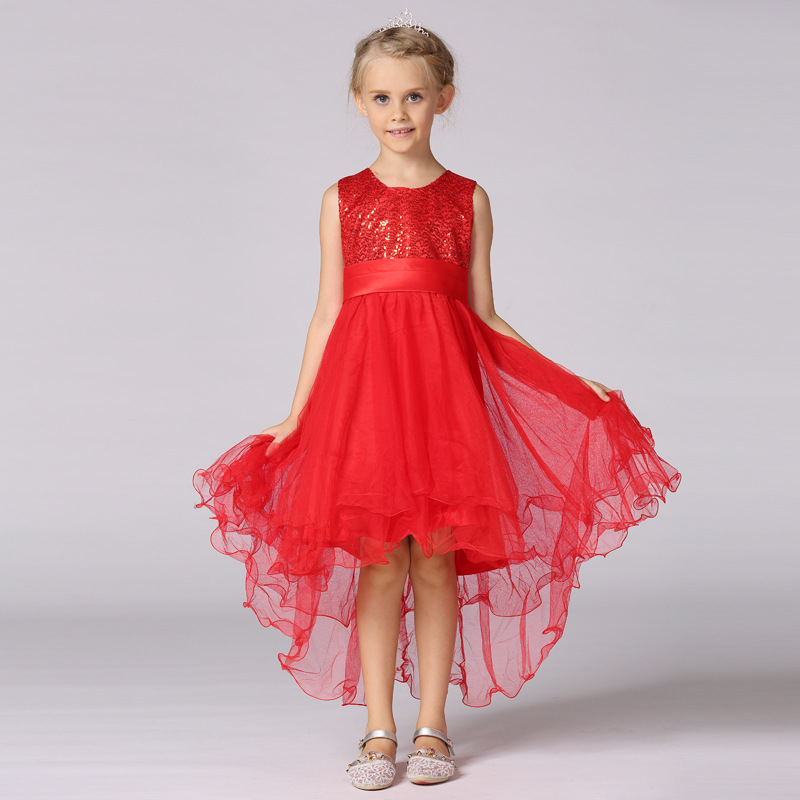 2016 Little Girl High Low Dresses Kids Blue Princess Trailing Girls