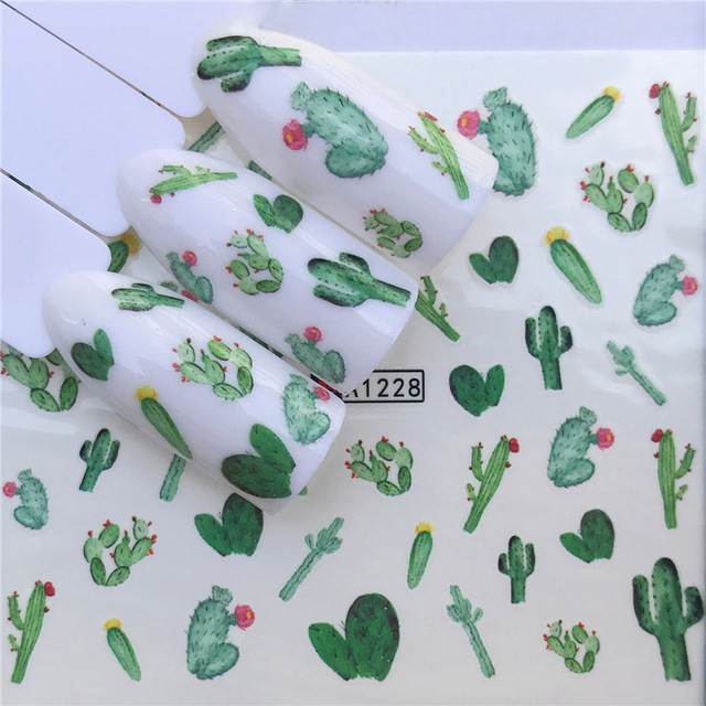 Prickly Pear Cactus Water Decals Nail Art Stickers