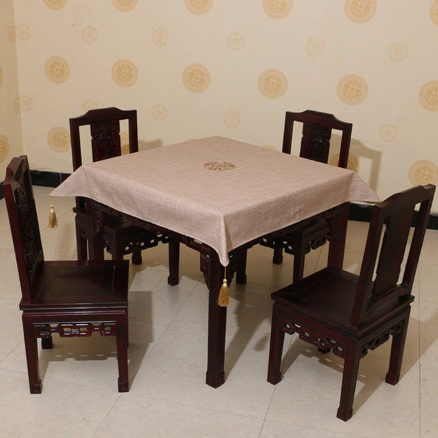 Attirant Square Linen Embroidered Pattern Waterproof Oilproof And Anti Heat Light  Brown Table Cloth( Various