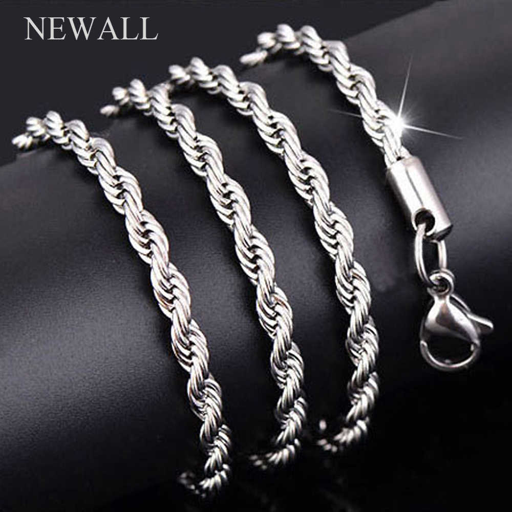 Newall Hot sale Retail Wholesale silver Necklace Women necklace 2mm 41/46/51/56/61/66/71/76 cm Length Twist Rope Chain jewelry