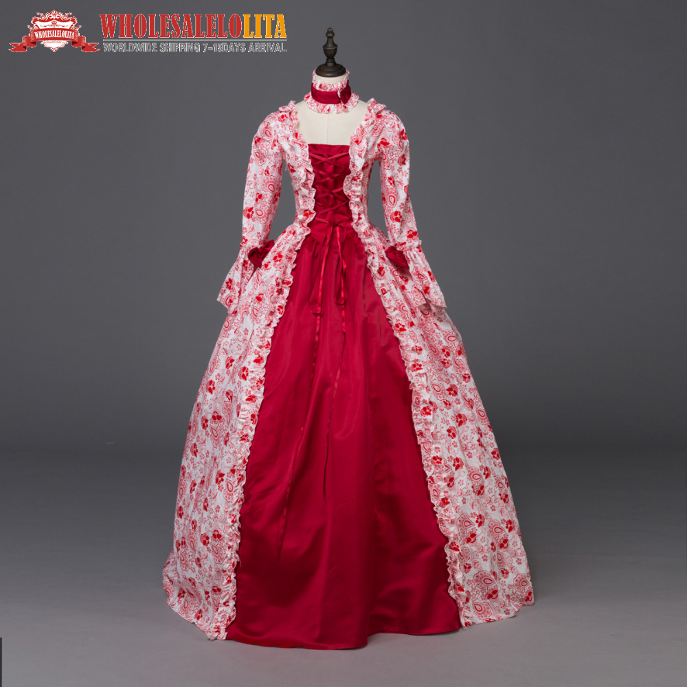 Top Sale Red Victorian Renaissance Fair Dress Ball Gown Queen ...