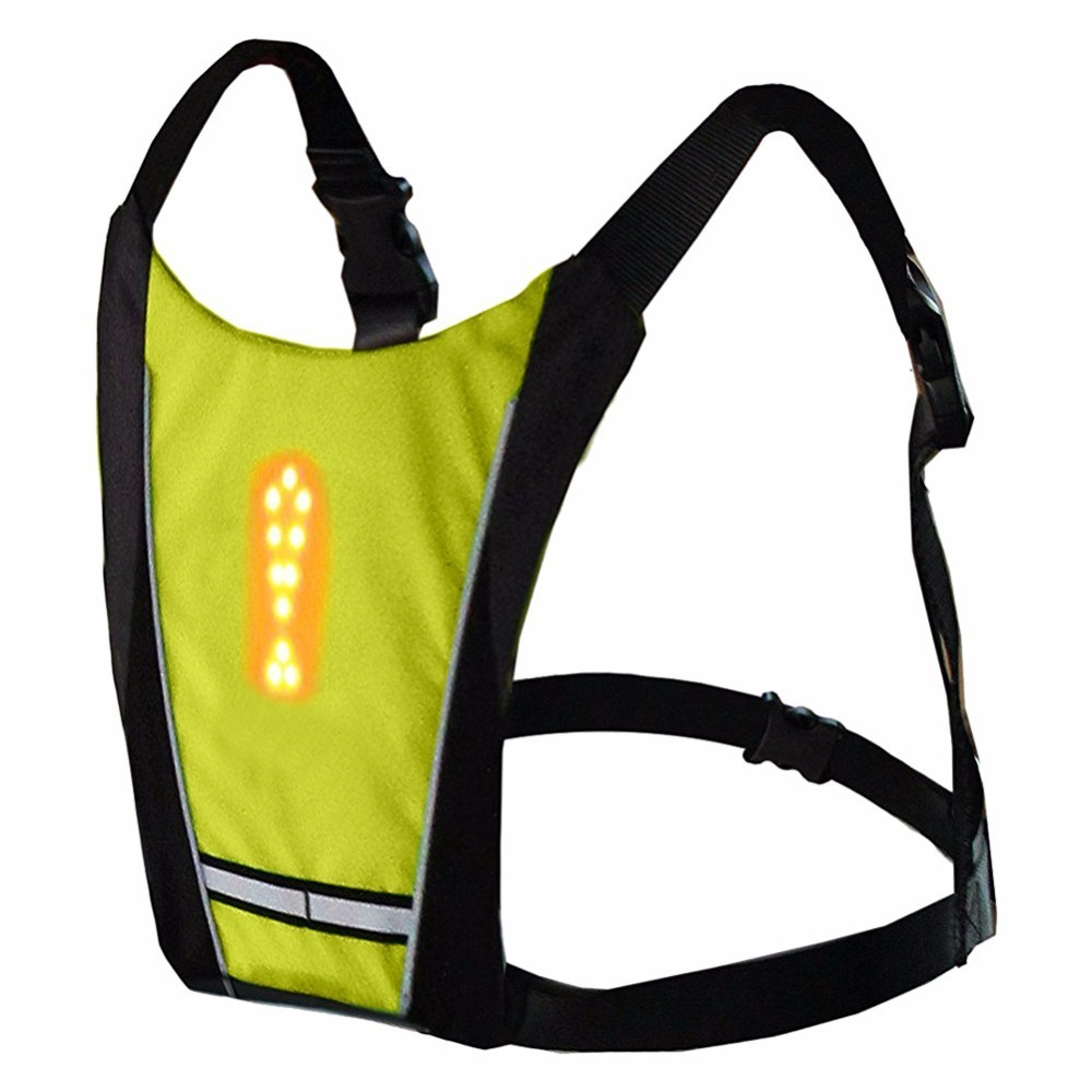 Reflective Safety Vest Cycling Waterproof 48 LED Turn Signal Vest Outdoor Running Night Walking Cycling