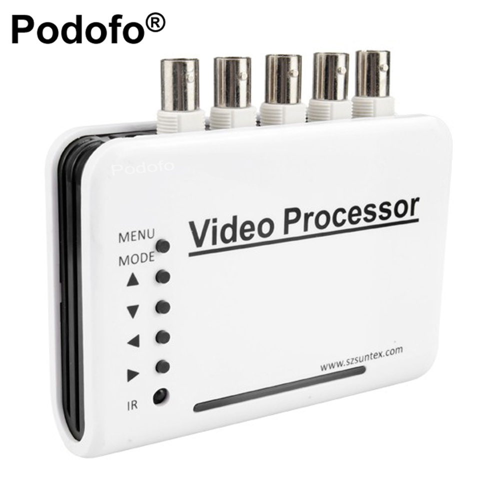 Podofo-CH Canali DVR CCTV Video Quad Splitter Switcher Camera Sistema Processore Colore Switcher Telecomando + 5 Adattatore BNC