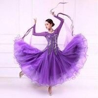 Customized new modern dance competition costumes women High quality purple ballroom dance dress Performance tango waltz dress