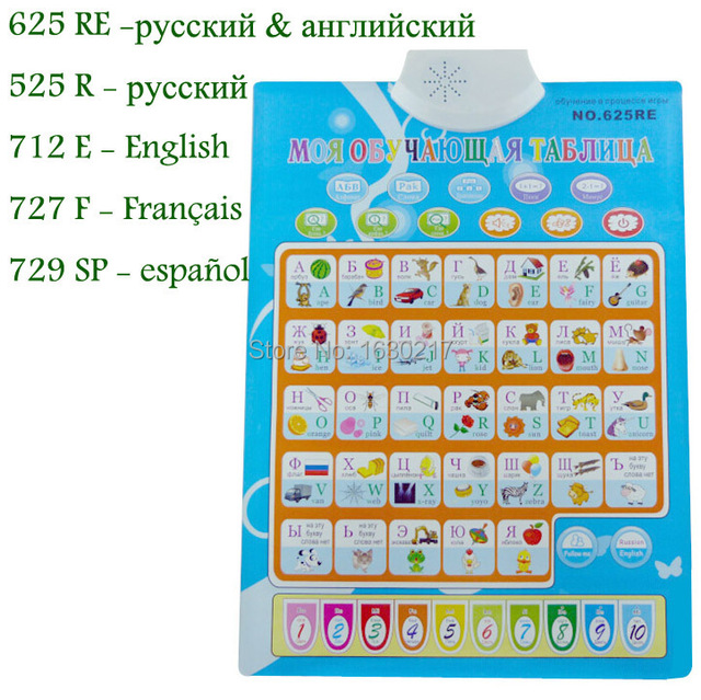 Russian English French Spanish Abc Electronic Baby Alphabet Early