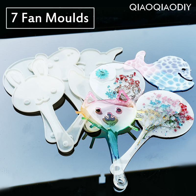 Qiaoqiaodiy Transparent Silicone Pendant Mould Resin Hand Fan DIY Jewelry Making Tool Fondant