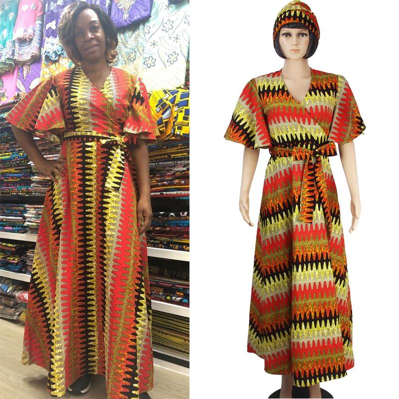 2019 robes africaines pour femmes robe d'impression de cire africaine privé col en v jupe longue vêtements traditionnels