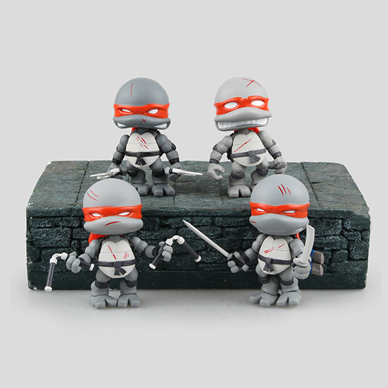 4pcs Pack Limited Version Silver Mutant Ninja Turtles Action Figure Toys Cute Anime Birthday Christmas Gift for Adults Kids lps toy pet shop cute beach coconut trees and crabs action figure pvc lps toys for children birthday christmas gift