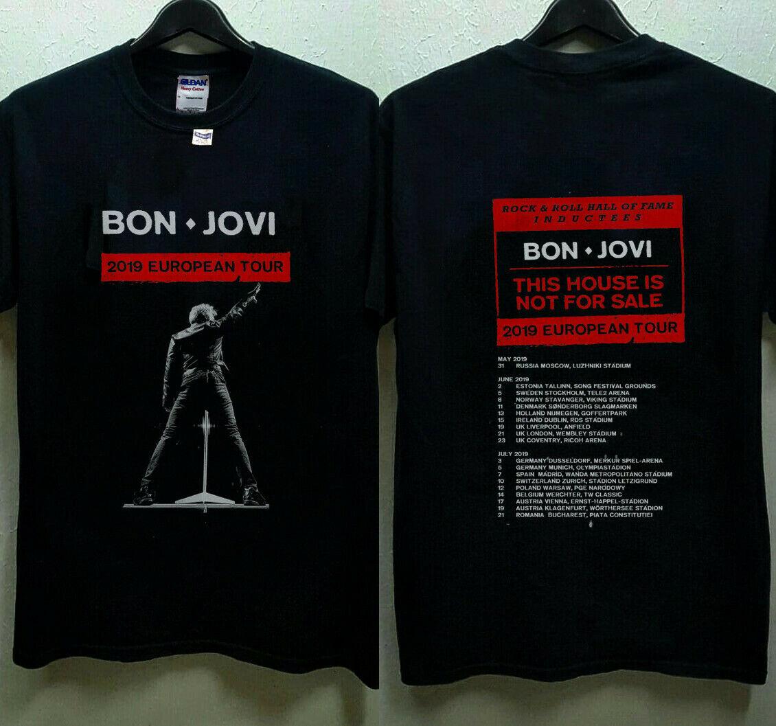 Bon Jovi 2019 European Tour With Dates   T  -  Shirt   Men   T     Shirt   Great Quality Funny Man Cotton