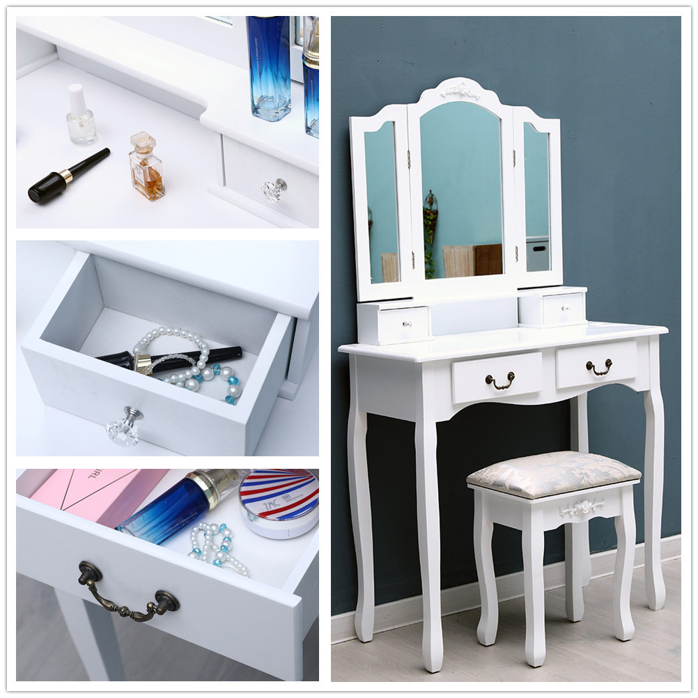 Tri Fold 4 Drawer Dresser Mirror Dressing Table With Dressing Stool Bedroom Makeup Table Storage Vanity Table White Us Stock