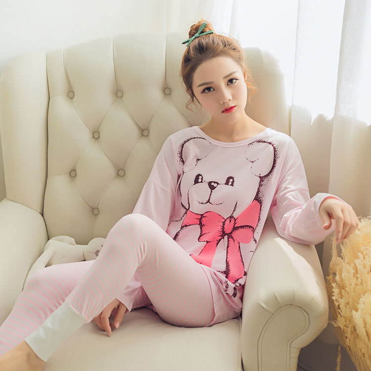 Womens Pajamas Sets 2020 Summer Round Neck Cartoon  Kawaii Totoro Cartoon Sleepwear Nighty Female Casual Autumn Winter Pajamas