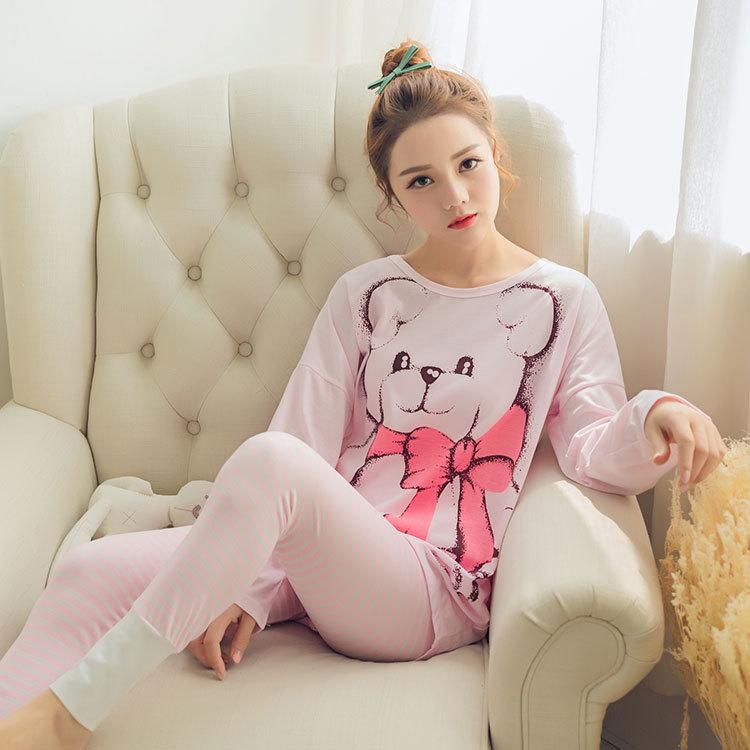 Womens Pajamas Sets 2020 Summer Round Neck Cartoon  Kawaii Totoro Cartoon Sleepwear Nighty Female Casual Autumn Winter Pajamas