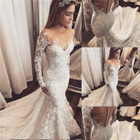 Mermaid Long Sleeve Lace Beaded Sequins Sexy Wedding Dresses Vintage Luxury Formal Wedding Gown Robe De Mariee Custom Size WD50