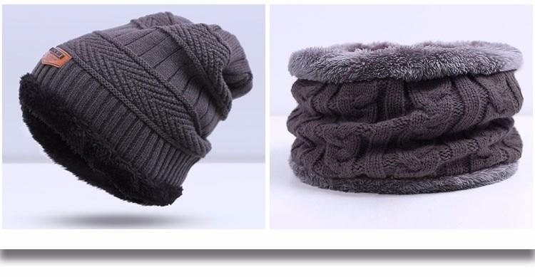 Зимняя вязаная шапка, шарф, набор, Мужская однотонная теплая шапка, шарфы, мужские зимние уличные аксессуары, шапки, шарф, 2 штуки