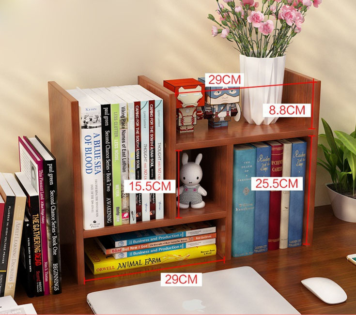 Portable Table Shelf Wood Bookcase Desktop Bookshelf Modern Office Book  Shelf Storage Rack