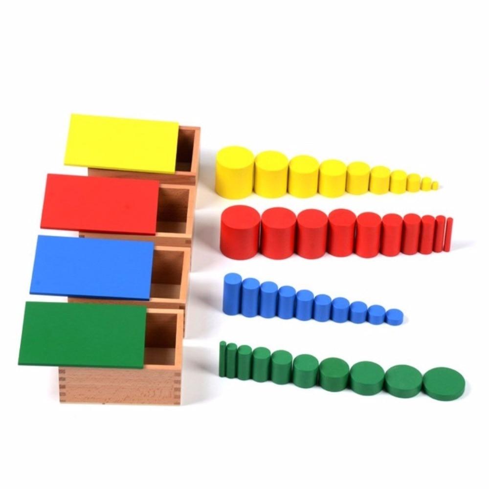 Montessori matériel sans noeuds cylindres enfants jouet en bois (lot de 4) outil de développement précoce pour les tout-petits