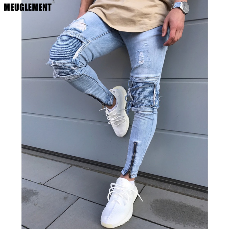 Men Clothes 2018 Hip Hop Sweatpants Skinny Motorcycle Denim Pants Zipper Designer Black Jeans Mens Casual Men Jeans Trousers