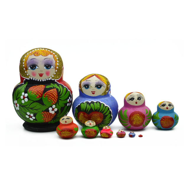 10 Wooden Layers Russian Dolls Children Toy Colorful Handmade Cute