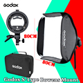 Godox Складной Складной Флэш Софтбокс 80 см * 80 см + S type Bracket Stable Bowens Вспышка Speedlite Студия Съемки Softbox Комплект
