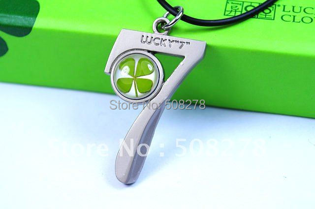 2014 new arrival four leaf clover necklace lucky seven pendant necklace for gift unisex necklace free shipping
