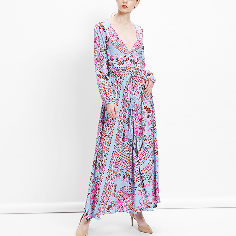 Aspiring 2019 Zanzea Summer Holiday Beach Long Dresses Women Sexy V Neck Dress Maxi Vestido Casual Floral Printed High Split Robe Promoting Health And Curing Diseases Women's Clothing