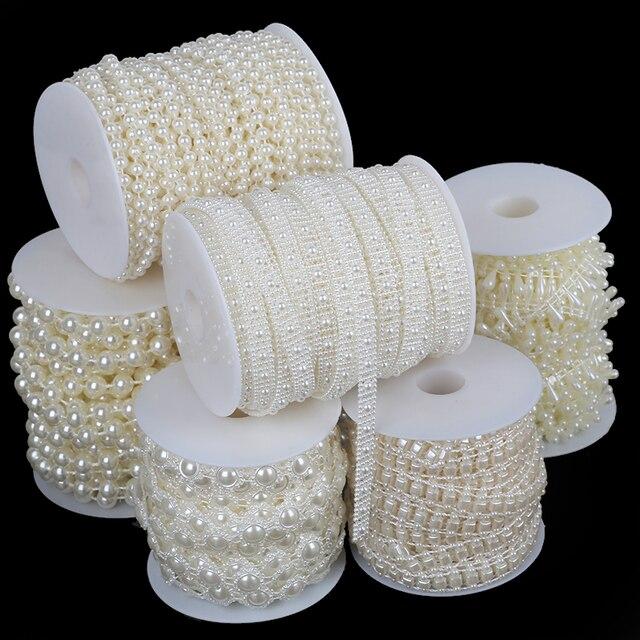 רב גודל שנהב ABS חיקוי פרל חרוזים שרשרת לחתונה כלה זר קישוט DIY קרפט ביצוע ספקי