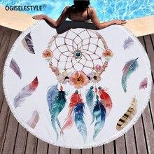 OGISELESTYLE круглый пляжное Полотенца 150 см Ловец снов печатных микрофибры душ Полотенца s круг в богемном стиле Ванна Полотенца s шаль мат толщиной