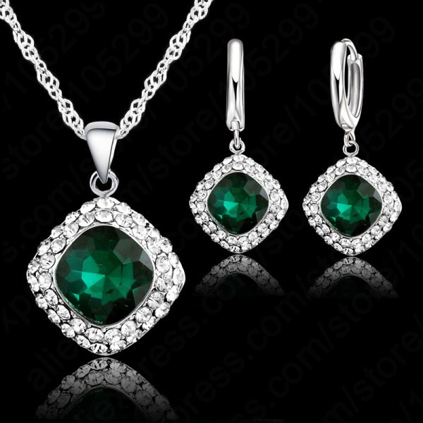 Hottest 925 Sterling Perhiasan Perak Kristal Kalung Set, Colorful Crystal Berlian Imitasi Kalung Anting-Anting Perhiasan Harga Promosi