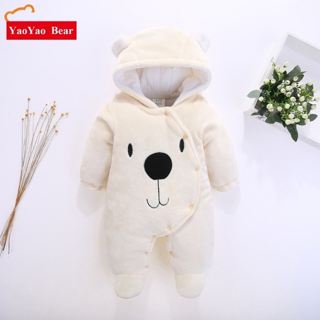 c23fcf8e476 Newborn baby clothes bear baby girl boy rompers hooded plush jumpsuit winter  overalls for kids roupa menina 3-12m Velvet Clothes