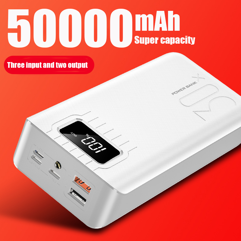 18650 Power Bank 50000mah External Battery PoverBank 2 USB LED Powerbank Type-c Portable Mobile charger for Xiaomi One plus