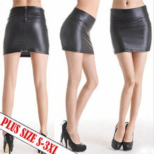 women solid color fashion slim mini girls skirts black PU leather skirt sexy vintage short skirts womens plus size female(China)