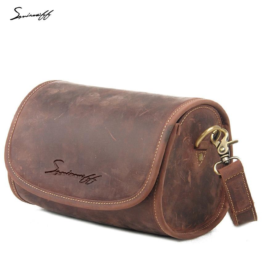 ФОТО SMIRNOFF 2017 Summer Woman Handbag Barrel-Shaped Crazy Horse Genuine Leather Bag Handmade Vintage Leisure Small Bag Female