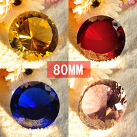 80mm 8Color Rinbow K9 Crystal Diamond Cut Glass Paperweight Gift for Home and Office Wedding Decor Souvenirs Decorative Crafts