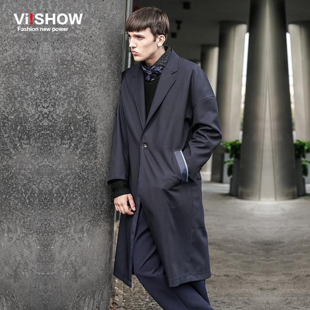 VIISHOW Outono Trench Coat Homens Único Botão Casaco de Trincheira Dos Homens Outerwear Casaco Casuais Jaquetas masculinas Casaco Mens Longo sobretudo