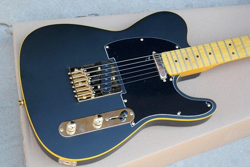 Offre spéciale guitare électrique personnalisée avec cou jaune, reliure jaune, pickguard noir, matériel en or, peut être personnalisé