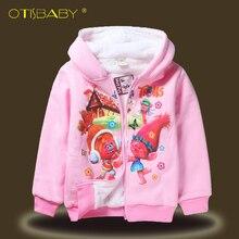 Girls Winter Trolls Hooded Sweater Plus Velvet Double Thicker Coat Children's Girl Top Kids Warm Thicken Outerwear Clothing