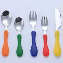 Vajilla portátil de seguridad niños cuchillo tenedor encantador juego de cubiertos de acero inoxidable vajilla